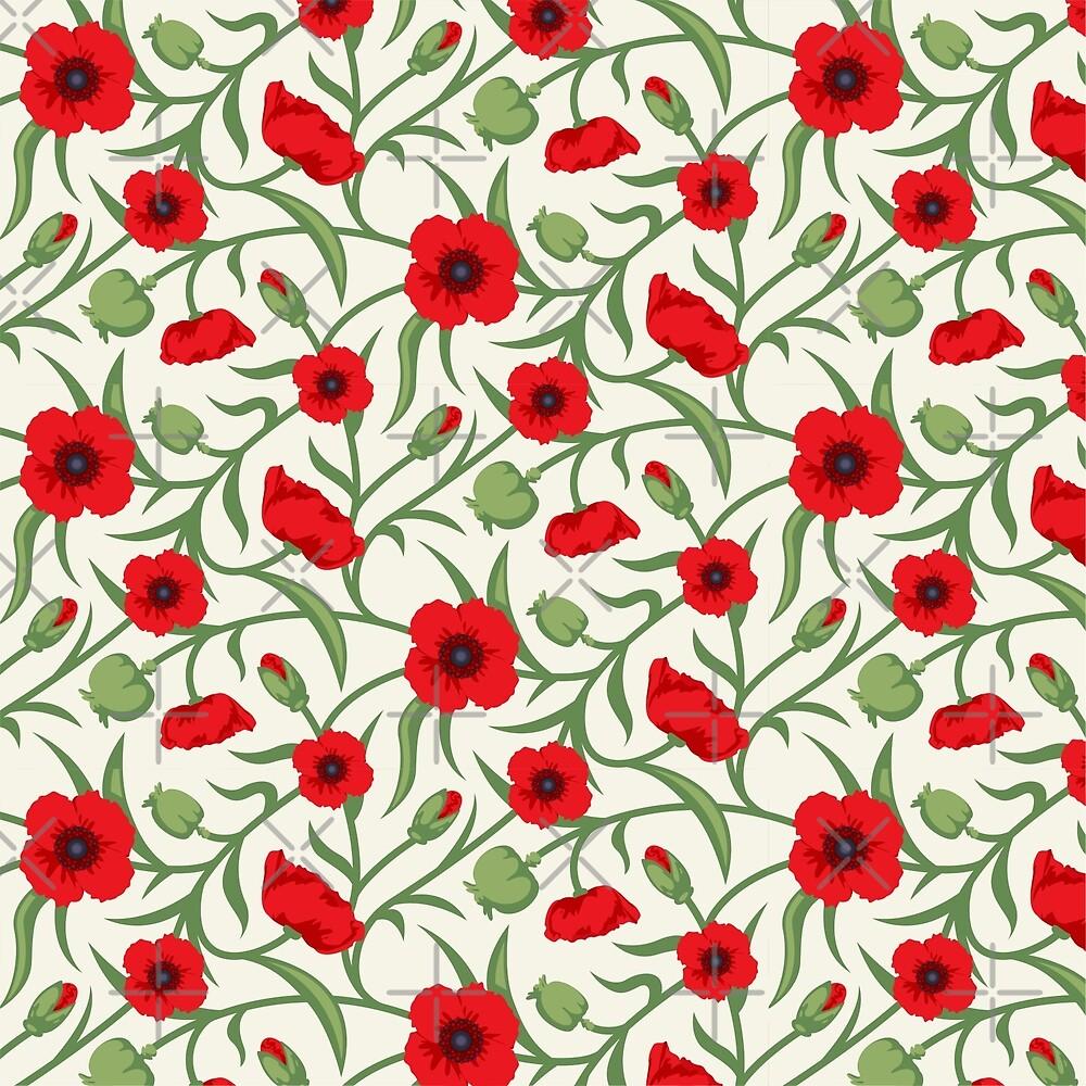 Red & Green Flowers Seamless Pattern by artonwear