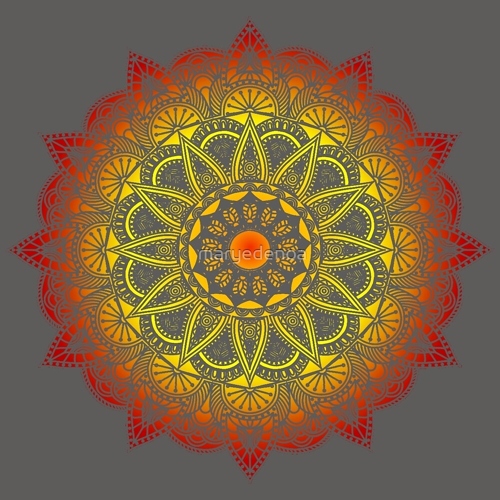 Vivid Fire Watercolor Mandala by maryedenoa