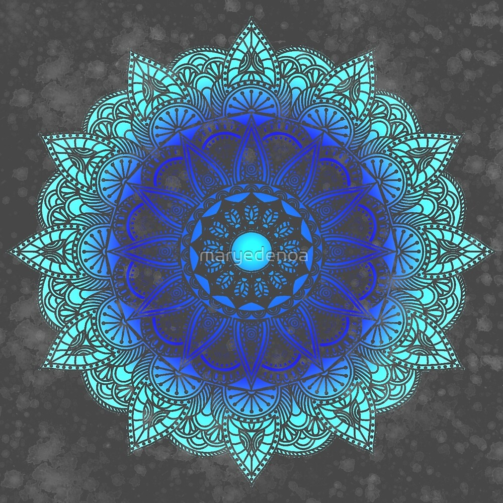 Blues Watercolor Mandala by maryedenoa