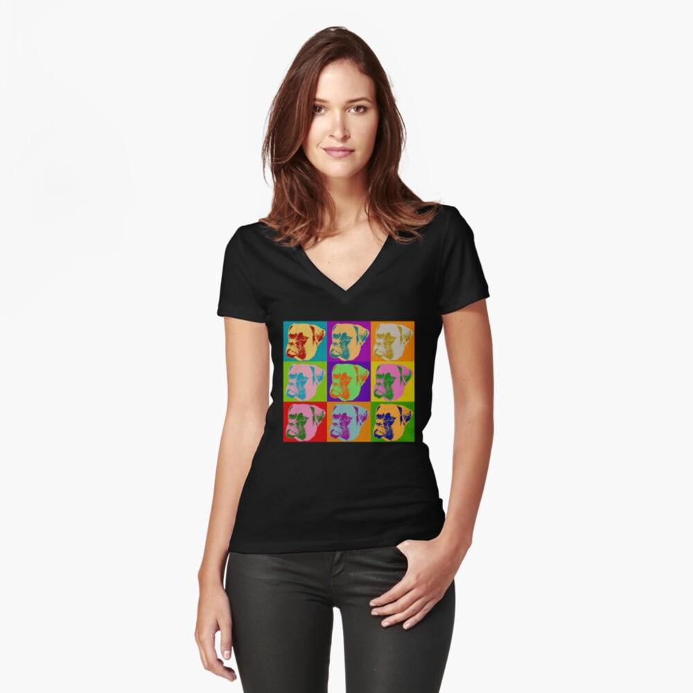 Boxer Dog Pop Art Women's Fitted V-Neck T-Shirt Front