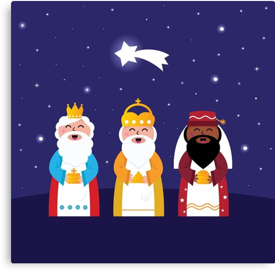 Caspar, Melchior and Balthazar follow the star of Bethlehem. Vector Illustration by Bee and Glow Illustrations Shop