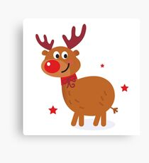 Christmas red nose reindeer Canvas Print
