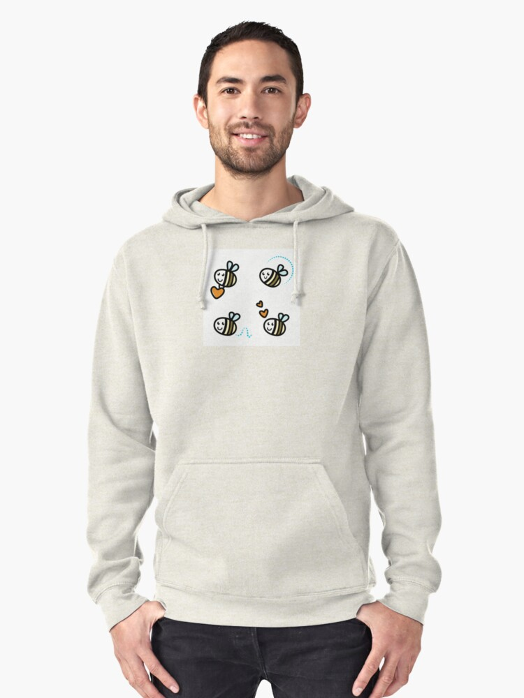 Funny Bee collection. Retro Illustration. Pullover Hoodie Front