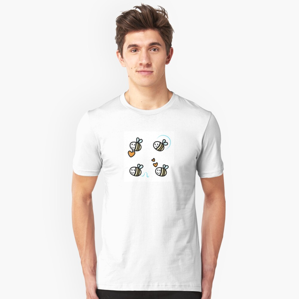 Funny Bee collection. Retro Illustration. Unisex T-Shirt Front