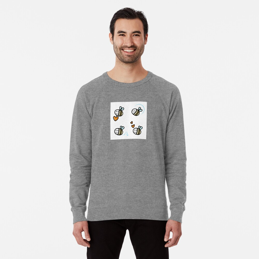 Funny Bee collection. Retro Illustration. Lightweight Sweatshirt Front
