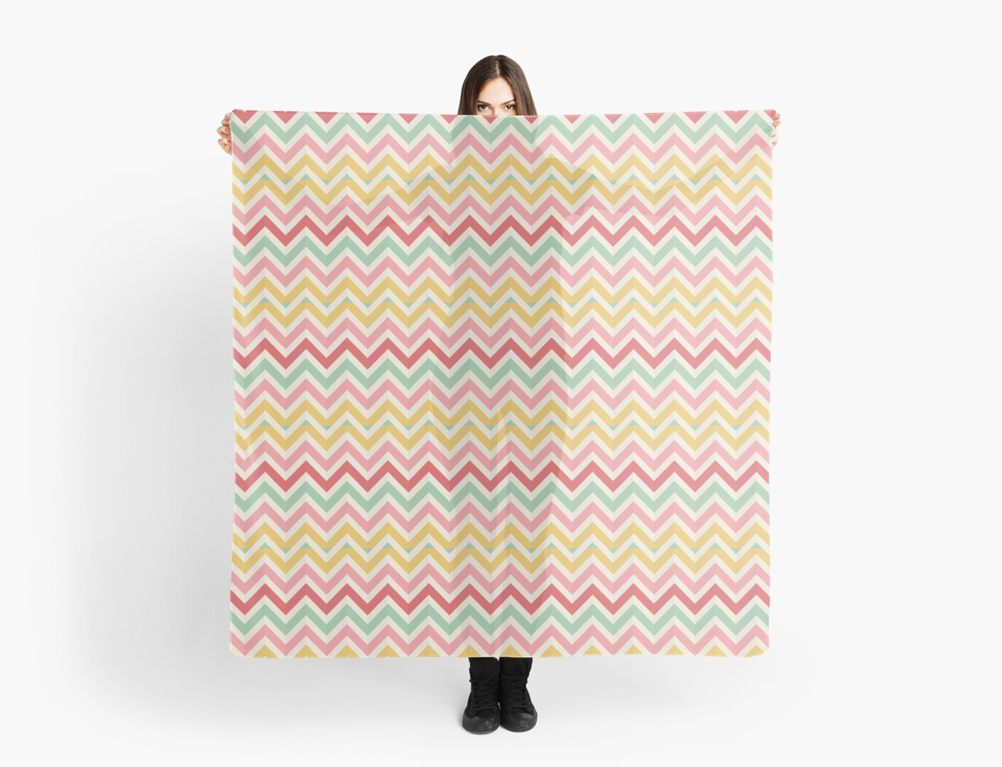 Chevron Pattern in Red, Yellow Pink by Susanne Floe