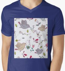 Sweet little birds in flight with bright colourful flowers and leaves, a fun pretty repeating illustration on white, classic statement fashion clothing, soft furnishings and home decor  Mens V-Neck T-Shirt