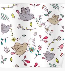 Sweet little birds in flight with bright colourful flowers and leaves, a fun pretty repeating illustration on white, classic statement fashion clothing, soft furnishings and home decor  Poster
