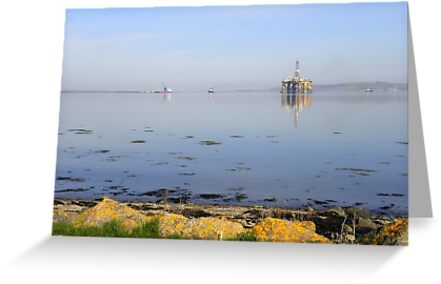 Udale Bay, RSPB reserve and oil rigs by irenicrhonda