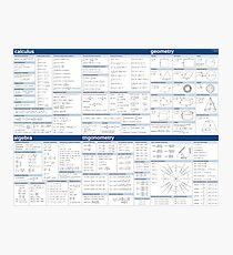 Math Formula Sheet - Blue Photographic Print