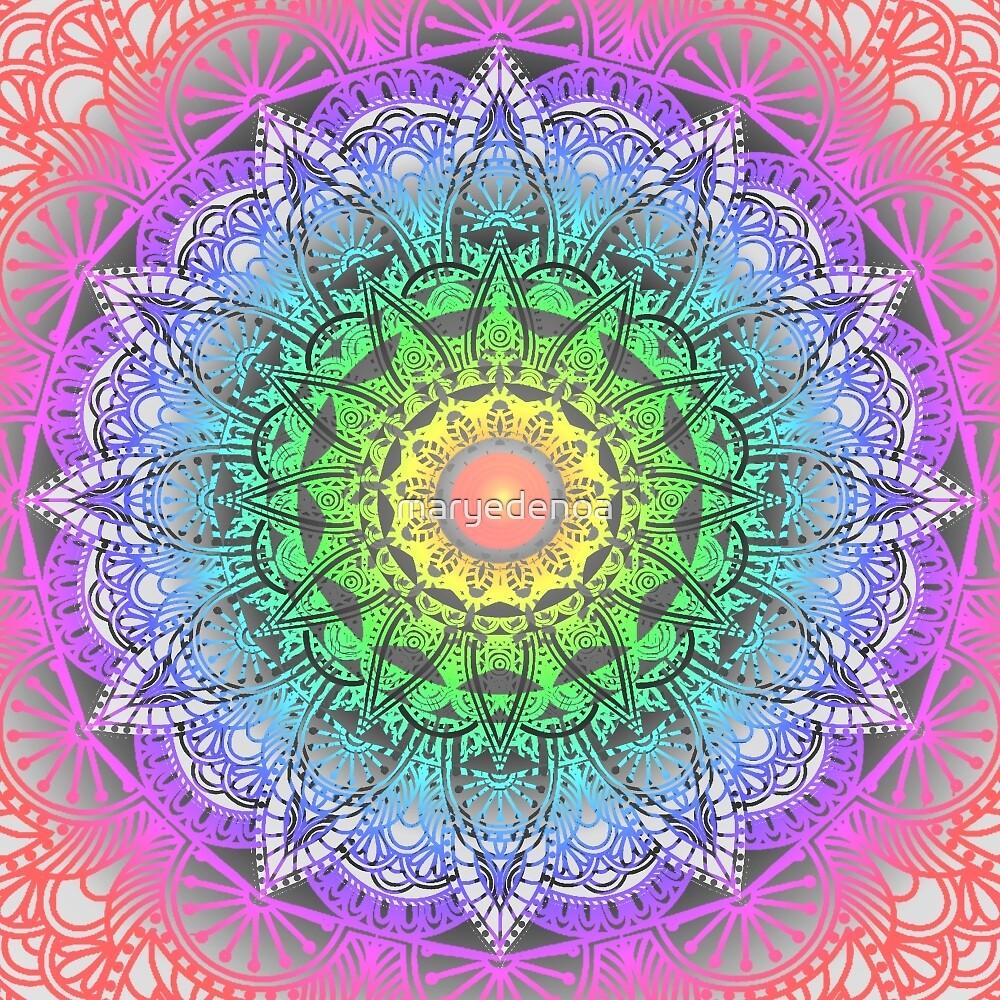 Rainbow Flower Mandala by maryedenoa