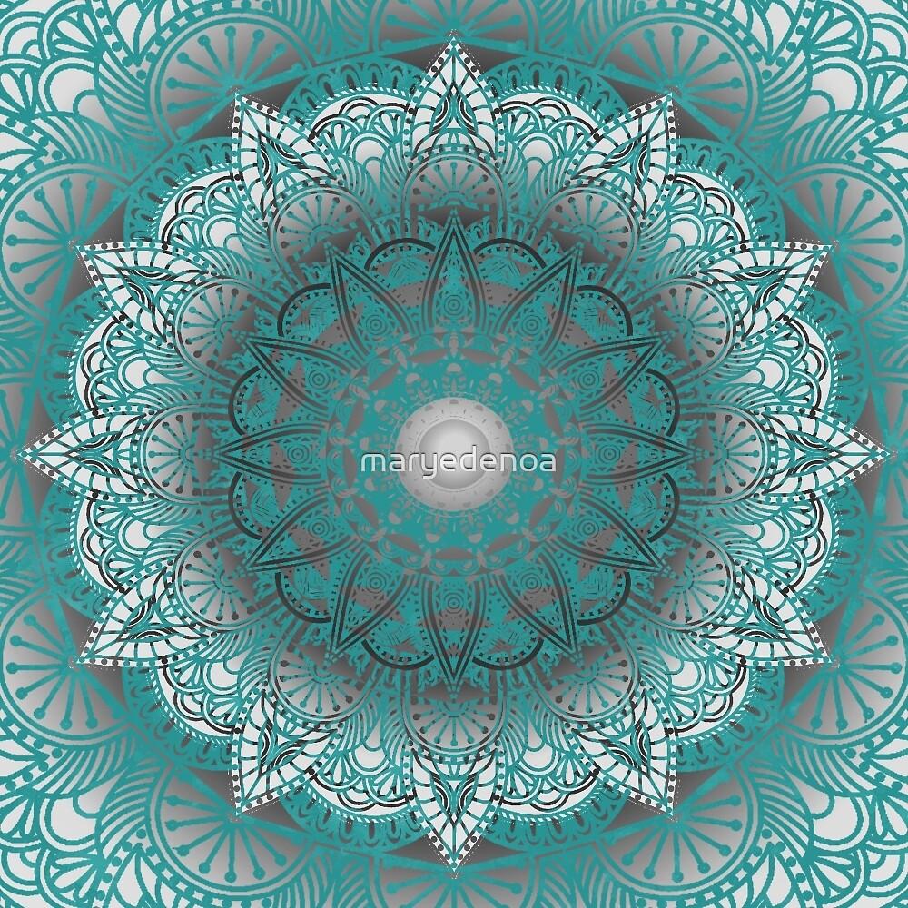 Turquoise Flower Mandala by maryedenoa