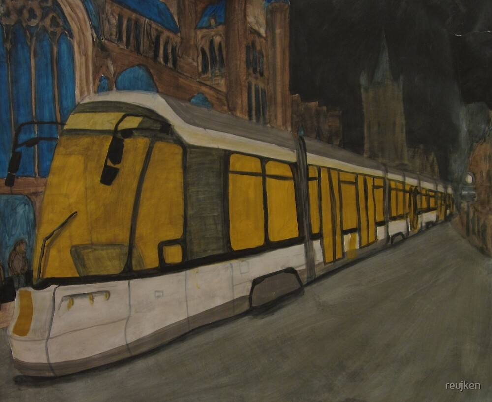 Painting Tram van De Lijn in Gent by reujken