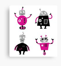 Cute cartoon robot characters Canvas Print