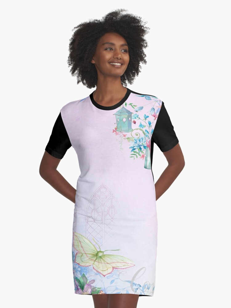 Shabby chic,water color, butterflies,flowers,church window,antique style,girly,beautiful,soft Graphic T-Shirt Dress Front