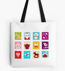 Advent Calendar. Christmas Time. Various cartoon christmas icons and elements. Tote Bag