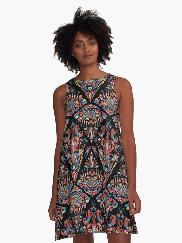Bright colorful geometric floral tradition pattern A-Line Dress Front