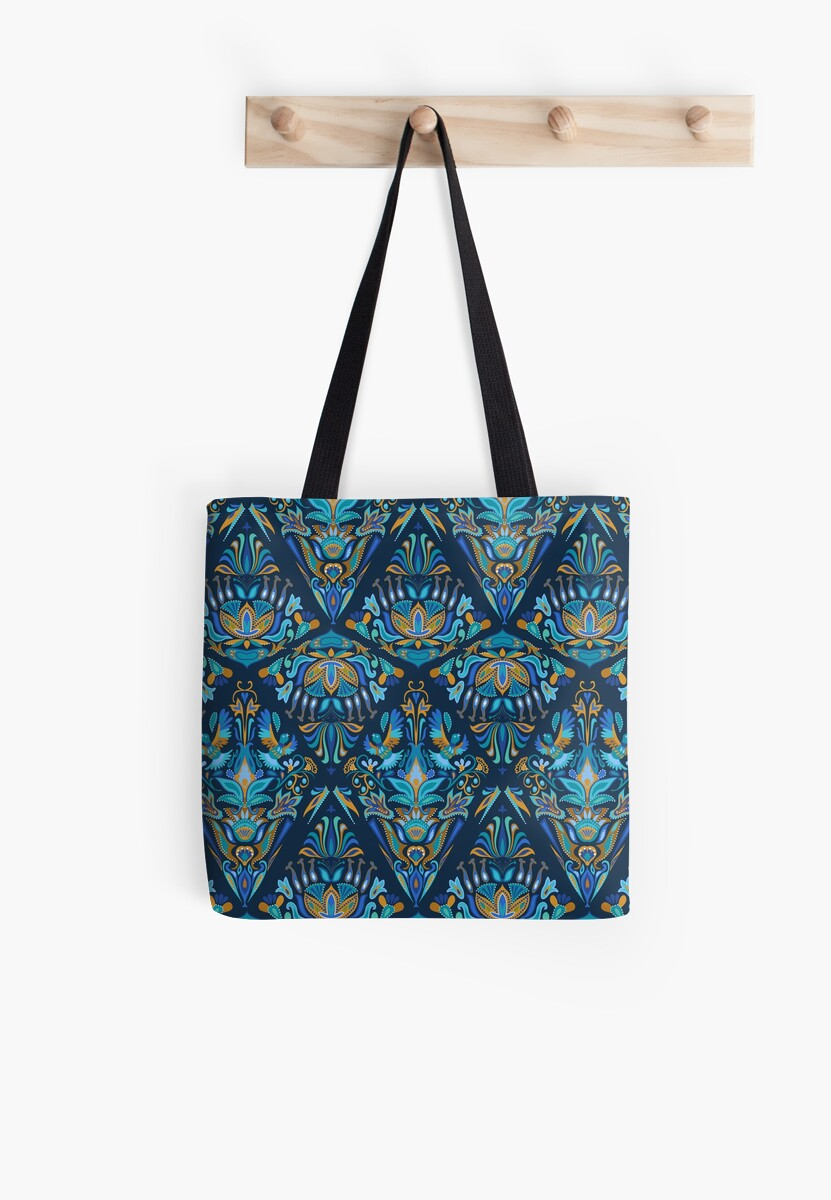 Bright colorful geometric floral blue tradition pattern by eszadesign