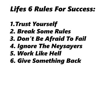 Life's 6 rules by EliteLifeDesign