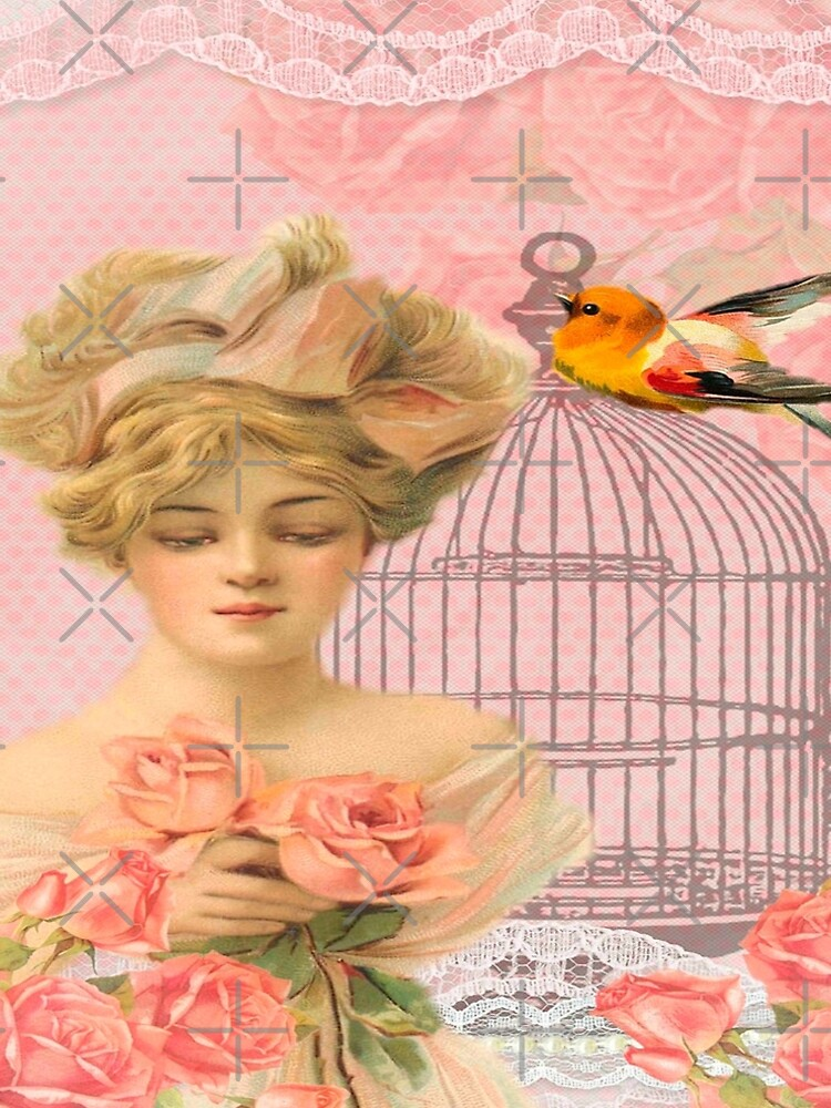 Beautiful,soft,pink,roses,bird,bird cage,beautiful young blond lady by love999