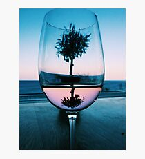 Wine Glass at Sunset Photographic Print