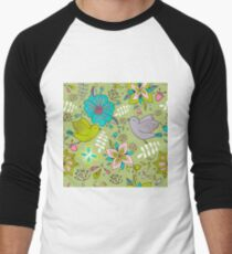 Sweet flowers and birds in flight, a cute line drawing pattern on a fun lime green background, classic statement fashion clothing, soft furnishings and home decor   Men's Baseball ¾ T-Shirt