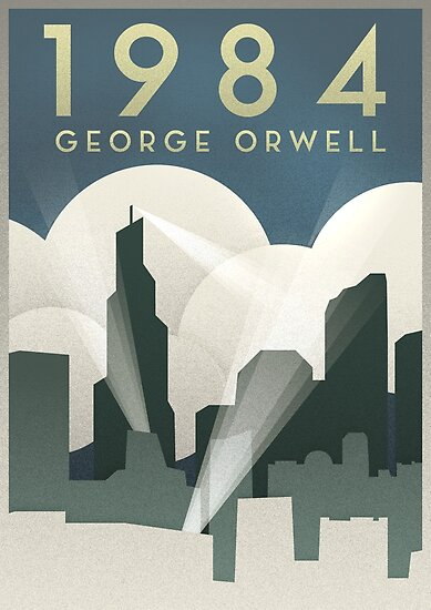 George orwell 1984 art deco poster by connor sorhaindo
