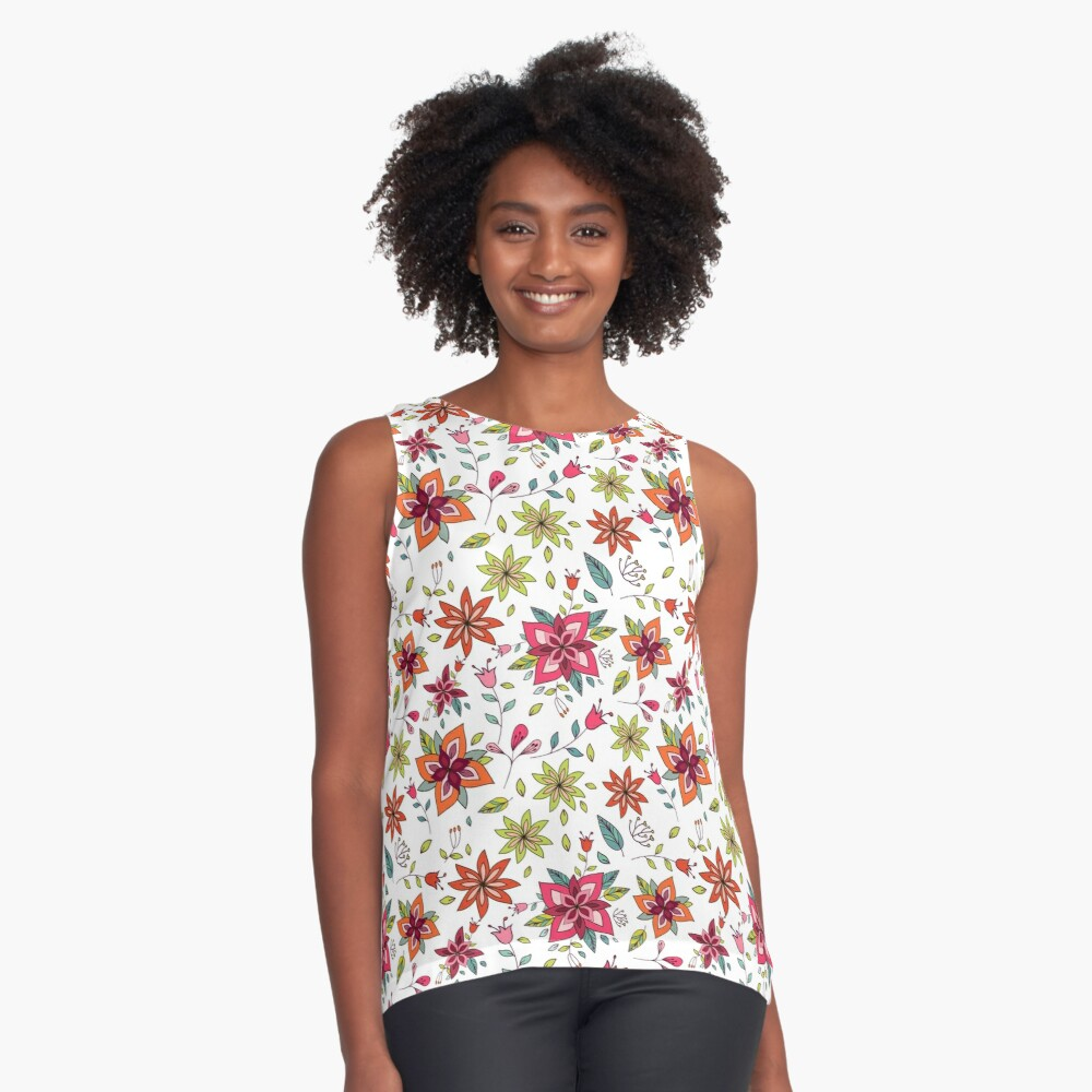 Retro 60's flower design in bright pink, lime green and orange, a colourful repeating floral design on a white background, classic statement fashion clothing, soft furnishings and home decor  Contrast Tank Front