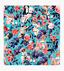Pinup and Floral Pattern Photographic Print