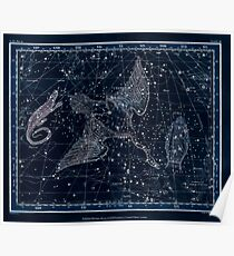 Alexander Jamieson A Celestial Atlas 1822 Plate 11 Astronomy Constellations Inverted Poster
