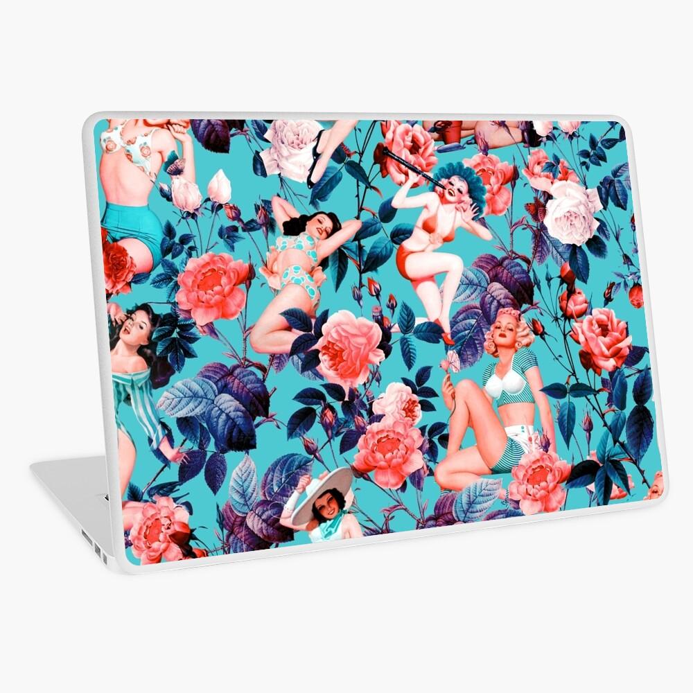 Pinup und Blumenmuster Laptop Folie