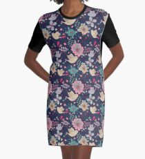 Sweet little birds in flight with bright colourful flowers, a fun modern repeating illustration on black, classic statement fashion clothing, soft furnishings and home decor  Graphic T-Shirt Dress