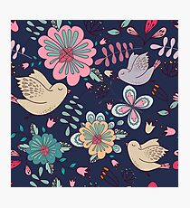 Sweet little birds in flight with bright colourful flowers, a fun modern repeating illustration on black, classic statement fashion clothing, soft furnishings and home decor  Photographic Print