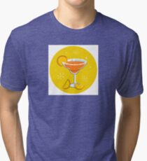 Orange retro drink with fruit. Vector cartoon Illustration Tri-blend T-Shirt