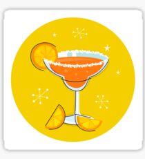 Orange retro drink with fruit. Vector cartoon Illustration Sticker