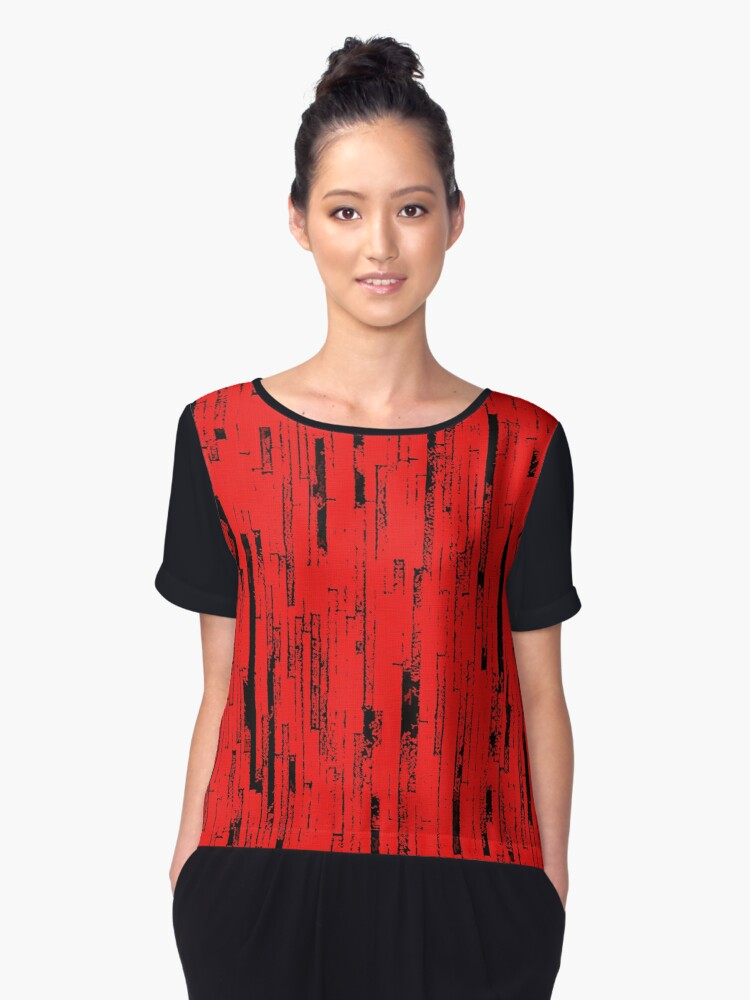 Line Art - The Bricks, black and red Women's Chiffon Top Front