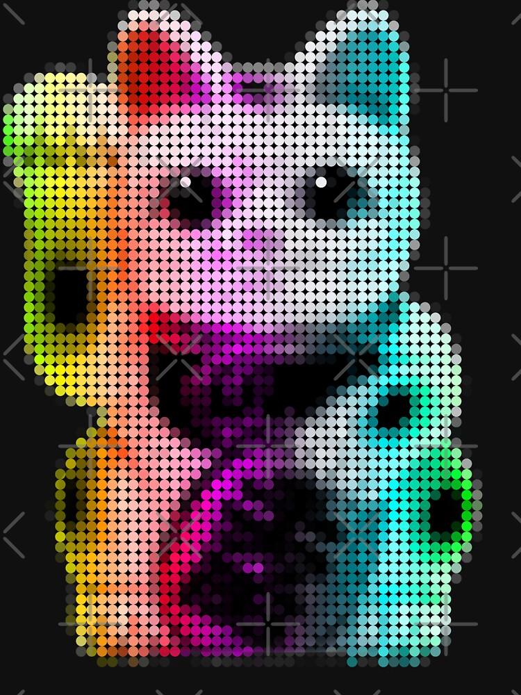 Pop Art Circles Lucky Cat - Maneki Neko by robotface