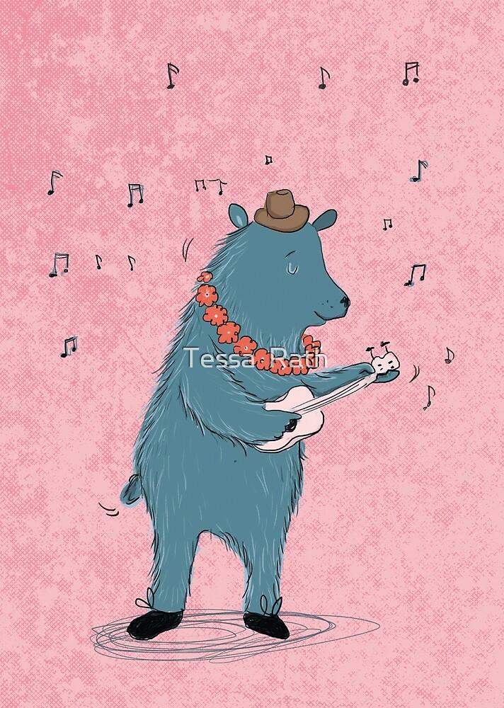Bear with ukulele by Tessa  Rath