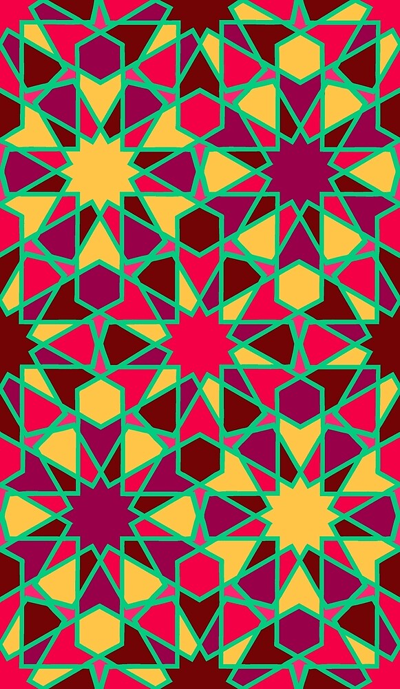 Spanish Director - Al-Nasir Pattern Red with Green Lines by foxific