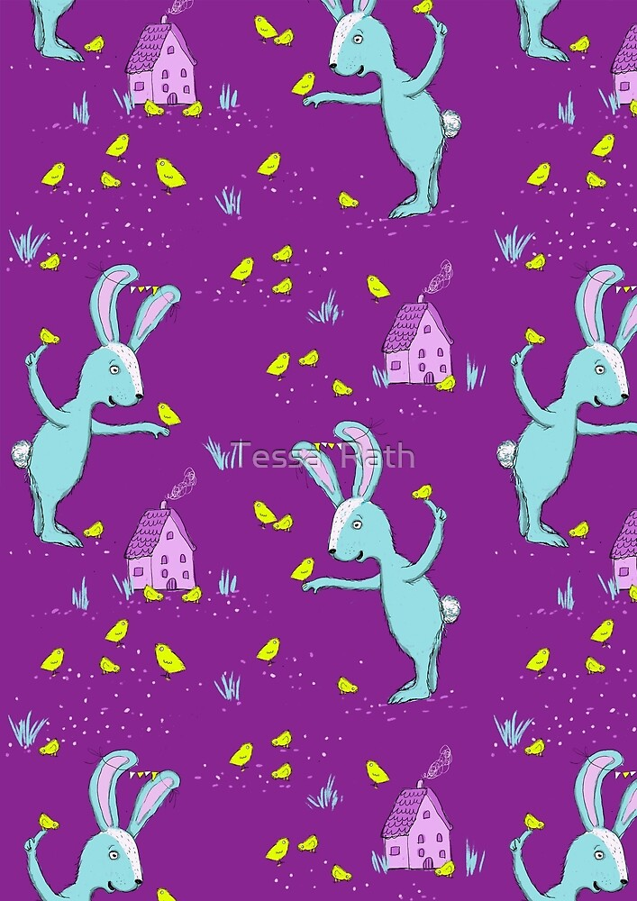 Bunny and chicks fabric pattern by Tessa  Rath