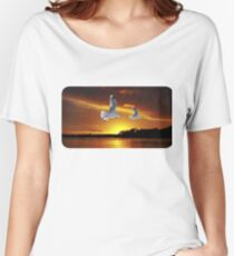 Golden seagull Ocean Sunset. Printed T-Shirts and Apparel. Women's Relaxed Fit T-Shirt