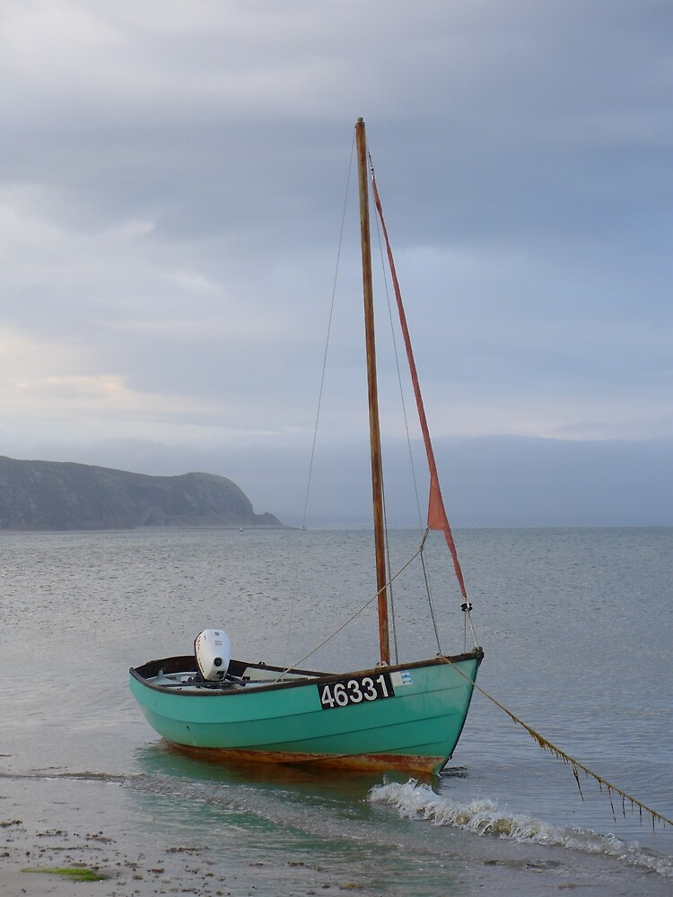 Single sailing boat at Abersoch by Anna Myerscough