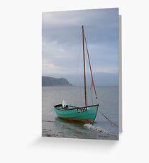 Single sailing boat at Abersoch Greeting Card