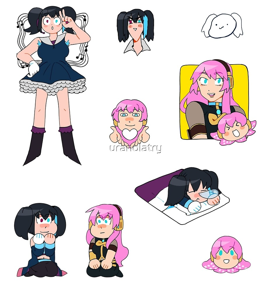 Luka Megurine and Ruko Yokune stickers by uranolatry