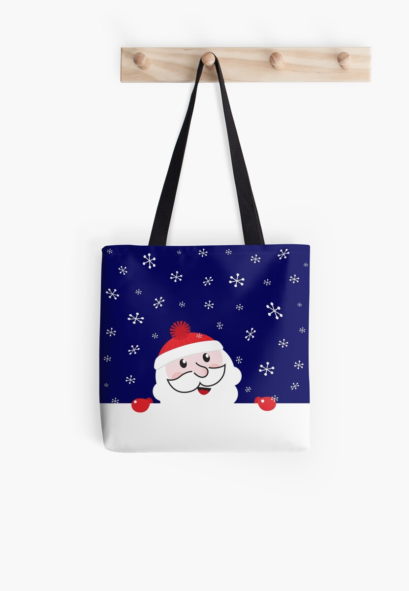 Cute Santa behind white blank banner cartoon by Bee and Glow Illustrations Shop
