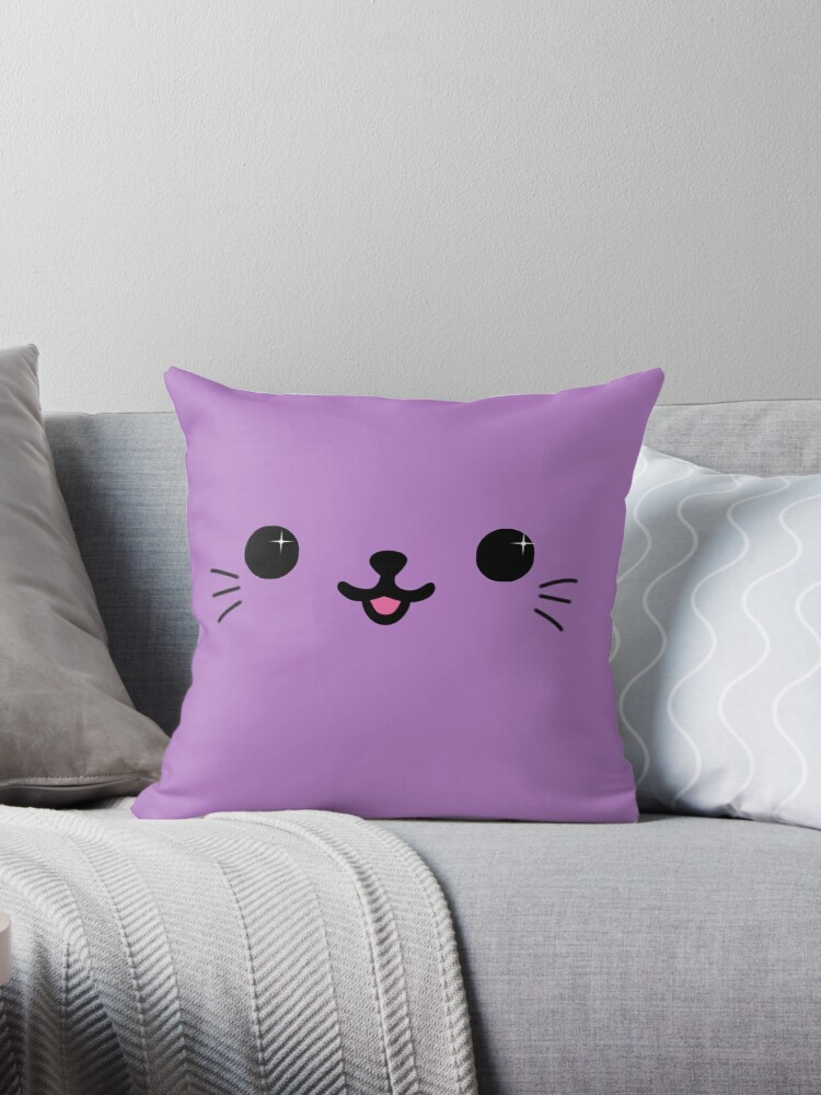 Purple Kawaii Kitty Face by TashApterDowd