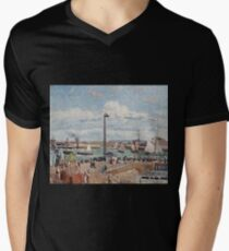 Camille Pissarro - The Pilots Jetty at Le Havre (1903)  Mens V-Neck T-Shirt