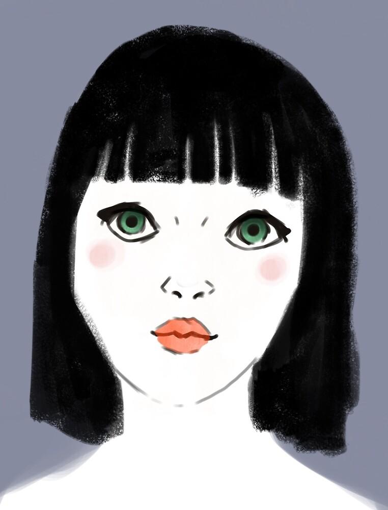 Black Hair Red Lips by lenas9thart