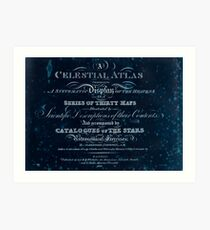 Alexander Jamieson A Celestial Atlas 1822 cover Astronomy Constellations Inverted Art Print