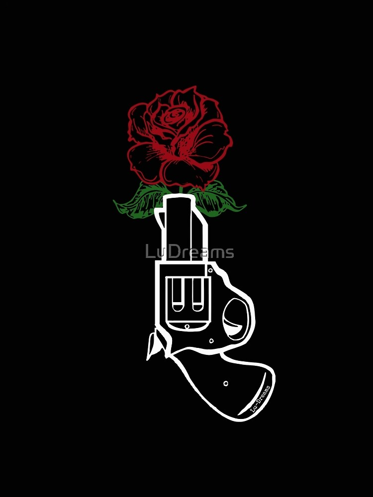 Gun & and Rose (White). by LuDreams